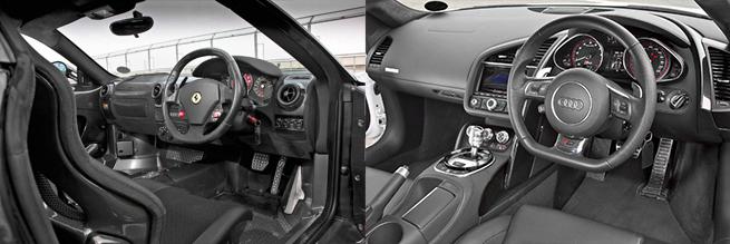 La cabina del Ferrari muy limpia, tiene un aire con mucho propósito deportivo. El interior del RS presenta la funcionalidad limpia emblemática de Audi