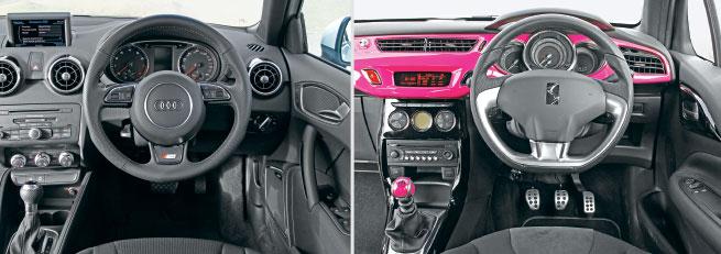 La cabina sólo automática del A1 es sobria, pero la percepción de calidad es alta (como el precio del auto); el DS3 no puede igualar la sofisticación del Audi, pero demuestra estilo y carácter