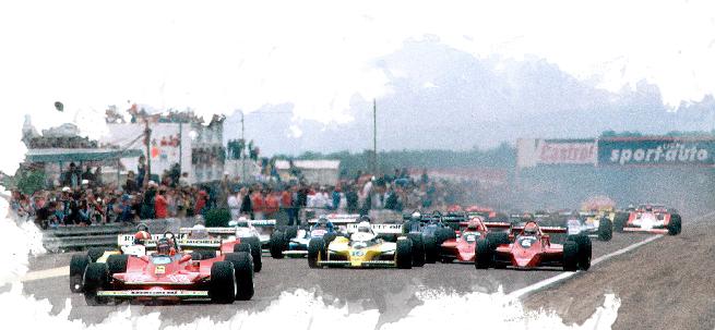 Gillrs tomó la punta en la arrancada sobre los Renault, sobre el Ferrari de Schoeckter y los Brabham