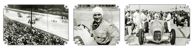 1. La arrancada de la carrera internacional de Eifel en 1934 2. Luigi Fagioli 3. Manfred von Brauchitsch en la parrilla de salida, atrás de él varios autos blancos