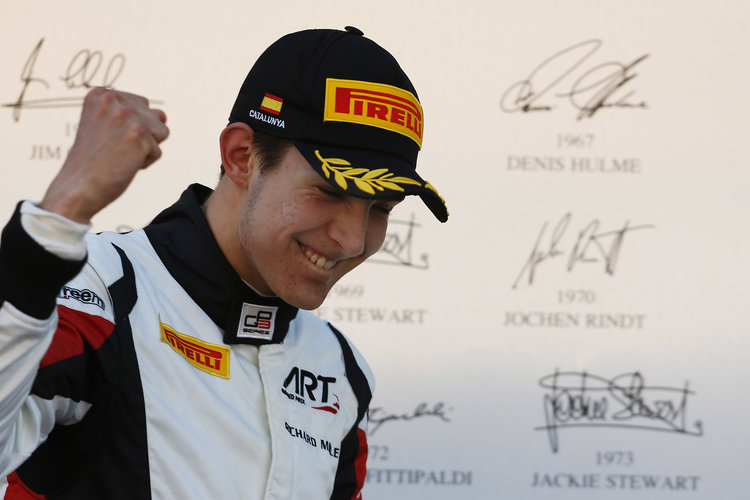 2015 GP3 Series Round 1. Circuit de Catalunya, Barcelona, Spain. Saturday 9 May 2015. Podium. Esteban Ocon (FRA, ART Grand Prix). Photo: Zak Mauger/GP3 Series Media Service. ref: Digital Image _L0U5022