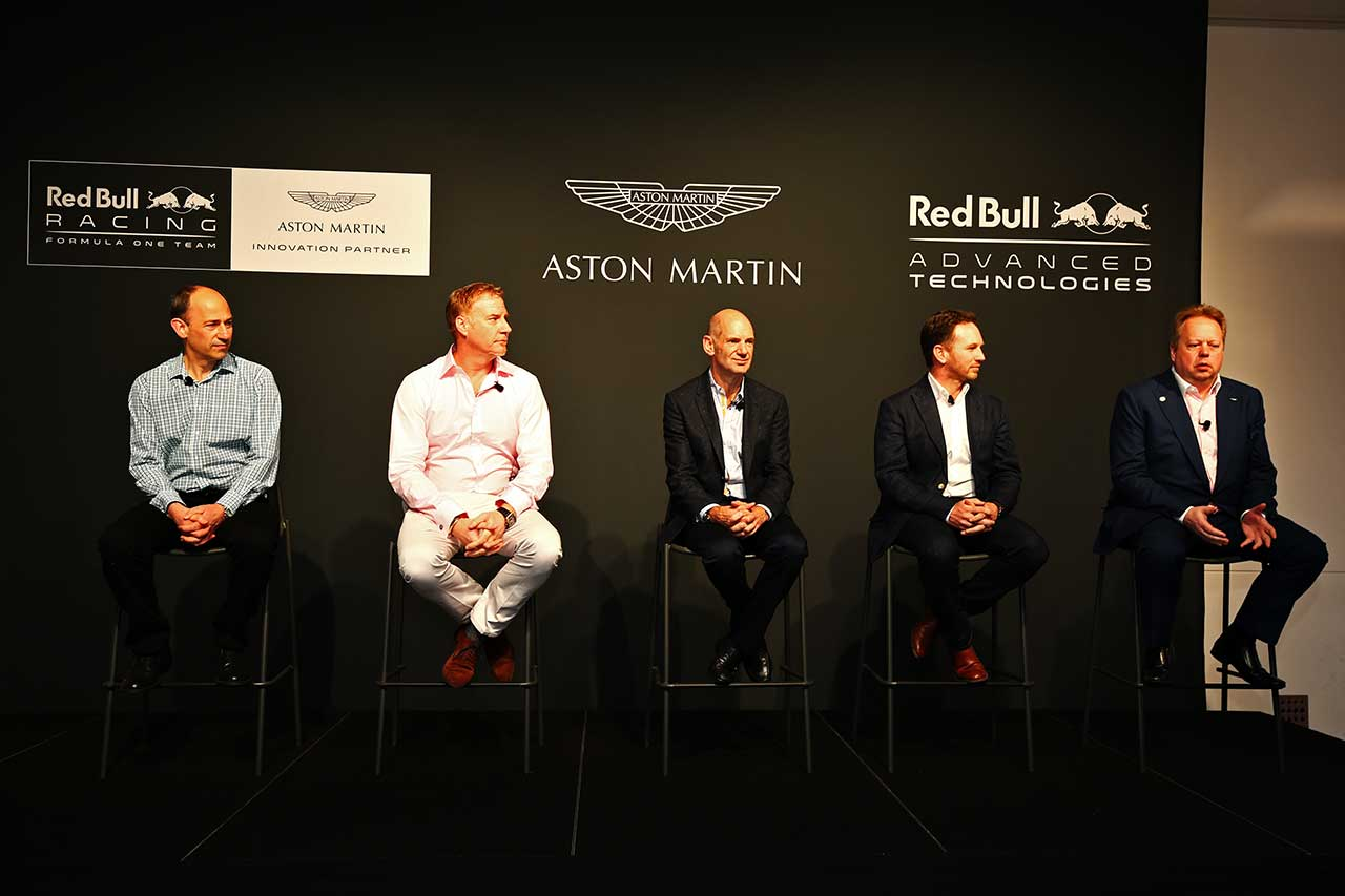 MELBOURNE, AUSTRALIA - MARCH 17: Andy Palmer, Chief Executive Officer of Aston Martin announces Aston Martin as an Innovation Partner of Red Bull Racing alongside Red Bull Racing Team Principal Christian Horner, Adrian Newey, the Chief Technical Officer of Red Bull Racing, Marek Reichman, Chief Creative Officer and Design Director of Aston Martin and  during previews to the Australian Formula One Grand Prix at Albert Park on March 17, 2016 in Melbourne, Australia.  (Photo by Robert Cianflone/Getty Images)