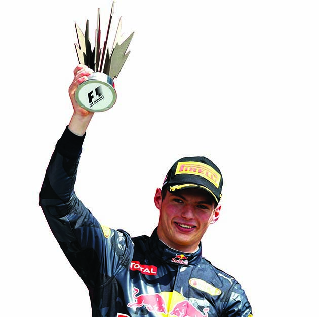 NORTHAMPTON, ENGLAND - JULY 10: Max Verstappen of Netherlands and Red Bull Racing celebrates on the podium during the Formula One Grand Prix of Great Britain at Silverstone on July 10, 2016 in Northampton, England. (Photo by Mark Thompson/Getty Images) // Getty Images / Red Bull Content Pool // P-20160710-01782 // Usage for editorial use only // Please go to www.redbullcontentpool.com for further information. //