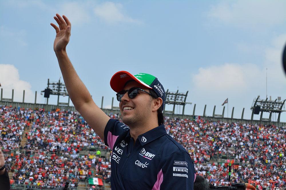 Sergio Pérez (Racing Point) en el Desfile de Pilotos del Gran Premio mexicano (FOTO: Carlos A. Jalife Ruz)