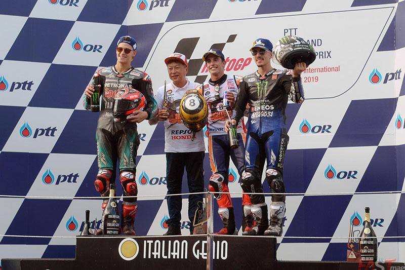 Marc Márquez, Fabio Quartararo y Maverick Viñales, ocupantes del podio del GP tailandés del MotoGP (FOTO: Luis Ugarte)