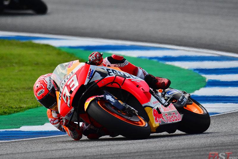 Marc Márquez (Repsol Honda Team) en acción durante el GP tailandés del MotoGP (FOTO: Luis Ugarte)