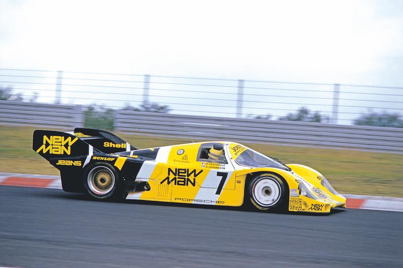 Ayrton en los 1000 Km. de Nürburgring de 1984 sobre el Porsche 956, ganador de Le Mans.