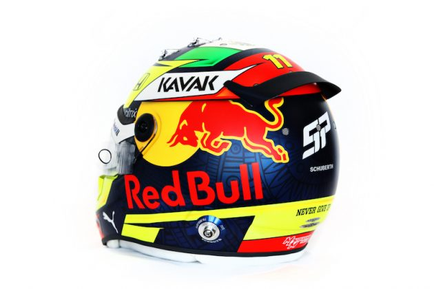 Casco Checo Pérez (FOTO: Mark Thompson/Red Bull Racing)