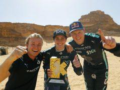 Nico Rosberg, Molly Taylor y Johan Kristoffersson (Sam Bloxham/Extreme E)