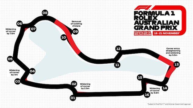 Mapa del trazado nuevo del GP de Australia (FOTO: GP de Australia)