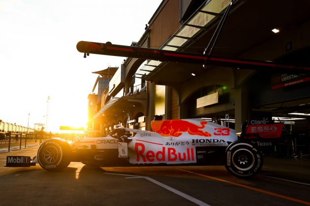 Decoración con la cual Red Bull, Checo Pérez y Max Verstappen honrarán a Honda en el GP de Turquía (FOTO: Mark Thompson/Red Bull Content Pool)